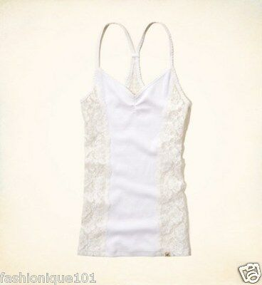 NEW HOLLISTER WOMENS WHITE SILVER STRAND RAZOR TANK TOP BLOUSE SIZE LARGE