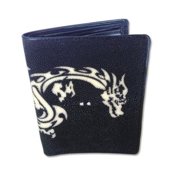 Long Black Wallet White Dragon Stingray Skin Men Wallet Bifold Genuine Leather