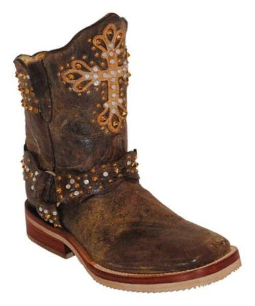 Ferrini Distressed Brown Cross Donna Rhinestone Cross Brown Cowgirl Boot Square Toe 8/8.5 898d3d