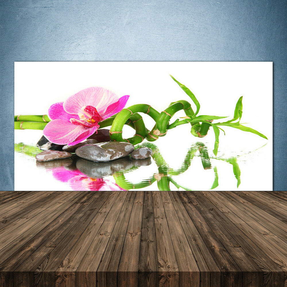 Cocina plano posterior de vidrio ESG piedras protección contra salpicaduras 140x70cm tubo de bambú flor piedras ESG arte 567103