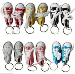 12pcs 6 Colors Canvas Cool Top Sneaker Tennis Shoes Keychain Keyring ... 882a09dec9