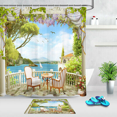 Balcony Scenic Arch Mountains Sea Flowers Waterproof Fabric Shower Curtain Set