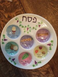 Image is loading Passover-Seder-Plate-Color-Pastels-Names-In-Hebrew- & Passover Seder Plate Color Pastels Names In Hebrew/English ...