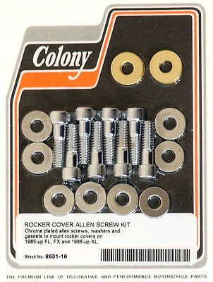 Harley 85-up EVO Rocker Cover Screw Kit Chrome Knurled Allen Colony 8931-16