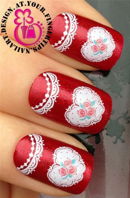 NAIL ART WRAPS WATER TRANSFERS STICKERS DECALS SET WHITE LACE FLORAL HEARTS #241