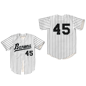 new product 930b9 983dd Details about MJ 45 Bham Barons Pinstriped Baseball Jersey Stitch Sewn All  Size