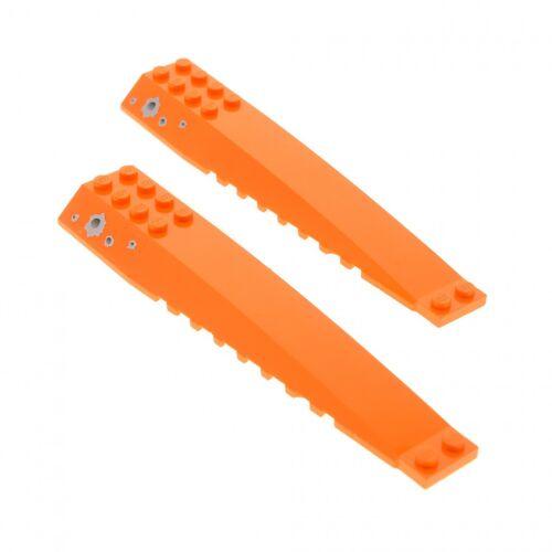 2 x Lego System Keil Flügel Platte orange 16x4 Aufkleber Set 7705 45301pb003