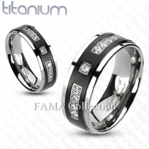 FAMA 8mm Solid TITANIUM Black IP Centre with Multi-CZs Band Ring Size 9-13