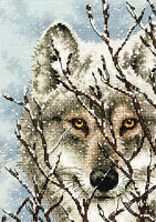 Cross Stitch Kit Gold Collection Close Up Winter Wolf Portrait 70-65131