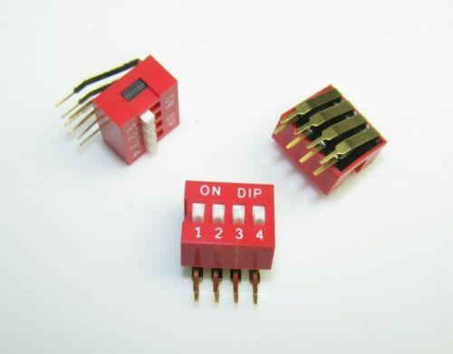 40 trozo Dip-Switch 4 polos bit kodierschalter rojo rastermaß 2,54 mm/1 Inch