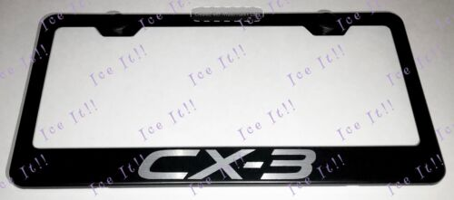Mazda CX-3 Stainless Steel Black License Plate Frame Rust Free Caps