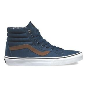 d815ac65195ea8 VANS Sk8 Hi Reissue (Cord   Plaid) Dress Blues Skate Shoes WOMEN S ...