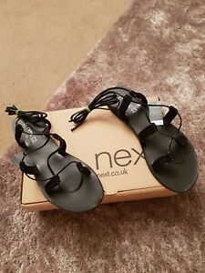 NEXT-Ladies-Black-Leather-Ankle-Tie-Gladiator-Style-Flat-Sandals-Size-6-5-BNWT