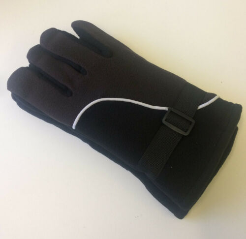 Mens Winter Warm Fleece Thermal White Line Black Strap Gloves **Choose**
