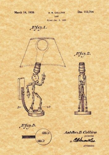 Reddy Kilowatt Lamp 1939 Art Print VOLT Ready To Be Framed! Patent Print