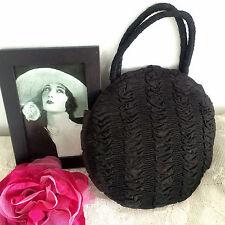 RARE Antique Art Deco Gatsby CORONET MONTREAL Ruched Silk Round Handbag Bag