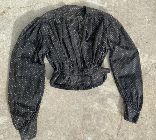 Antique Edwardian Calico Blouse Bodice Black & Whi