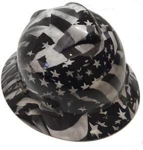 MSA Full Brim VGuard Hard Hat White American Flag W  Free BRB TShirt ... 455b298cbe0
