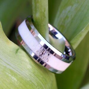 Natural Deer Antler Ring Mens Band Womens Wedding Ring Tungsten