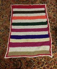 000 Vintage Handmade Crocheted Afghan Baby Blanket. Multi Color 46x30 Inches