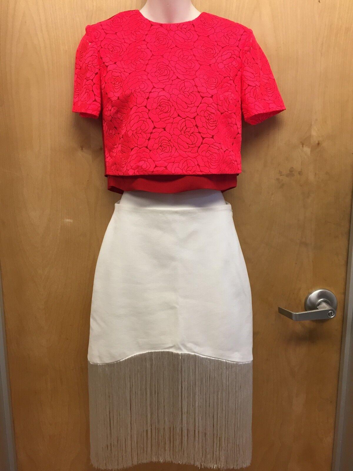 A.L.C. designer short sleeve rot lace shirt Größe 0