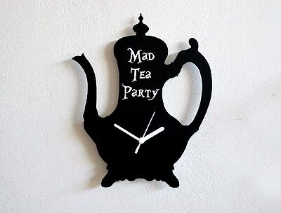 Mad Tea Party Alice in Wonderland Tea Pot Silhouette - Wall Clock