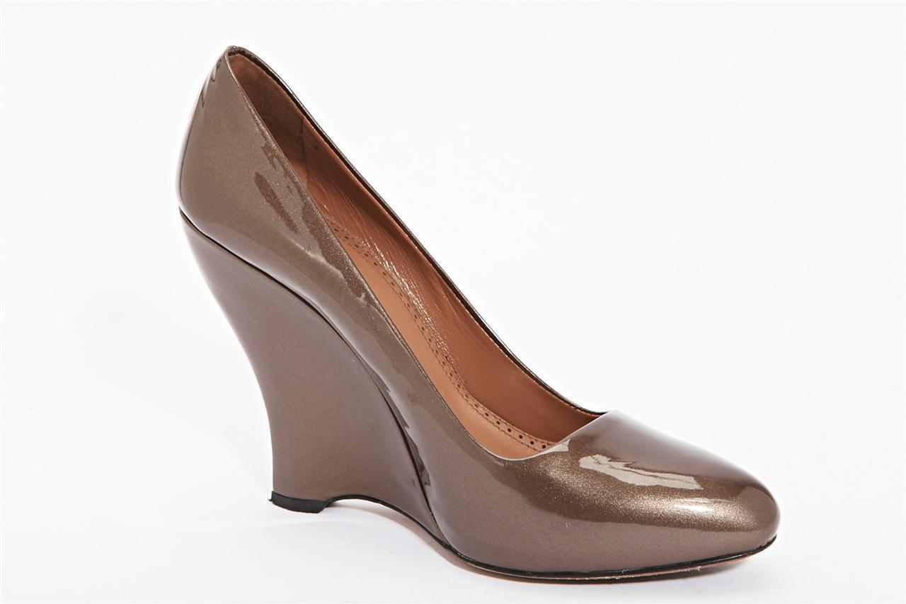 ALAIA Donna Metallic Bronze Patent Pelle Wedge High Heel Pump 10-40