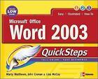 Microsoft Office Word 2003 QuickSteps by John Cronan, Marty Matthews (Paperback, 2004)