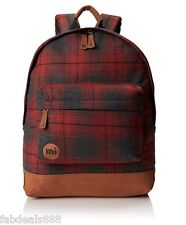 Genuine Mi-Pac Mipac Premium Backpack, TARTAN RED CHECKED WOVEN SCHOOL BAG