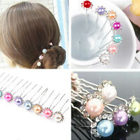 5PCS/Set Wedding Bridal Pearl Flower Crystal Hair Pins Clips Hairpin Accessories