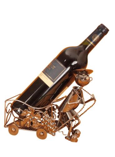 Moderner Wein Flaschenhalter Weinarbeiter aus Metall Höhe 18 cm Breite 21,5 cm