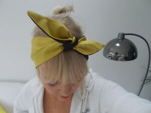 HEAD SCARF HAIR BAND mustard SELF TIE BOW  NECK ROCKABILLY SWING PIN UP 50s