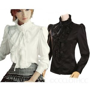Winter White High Neck Blouse Womens Vintage Top Victorian Ruffle ...