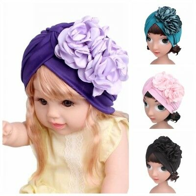 Child Baby Turban Ruffle Flower Beanie Hat Muslim Indian Kid Girls Cap Scarf