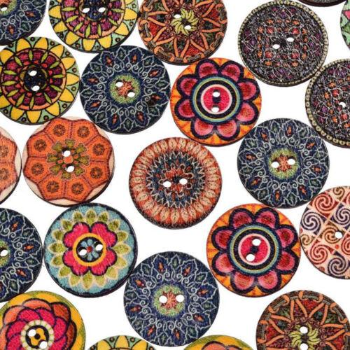 50Pcs//lot fleur photo en bois Bouton 2 trous Mixte Couleur Apparel Sewing À faire soi-même