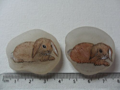 hand painted animal pets Little brown rabbit miniature painting on sea glass