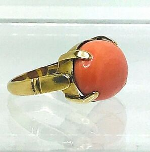 Vintage-Rosa-Koralle-Natuerlich-Cabochon-6-00ct-Gelbgold-18k-Ring-UK-G-1-2