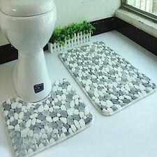 2 Stück Badgarnitur Badezimmer Soft Coral Duschvorleger Badvorleger Badteppich