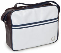 Mens Fred Perry Shoulder Retro Record/ Messenger Bag (White/Maroon/Navy)