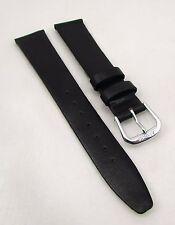 18mm BANDA Black crystal Calfskin Genine Leather Watch Strap Band