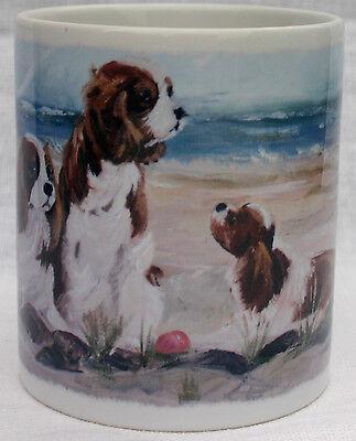CAVALIER KING CHARLES SPANIEL BLENHEIM DOGS MUG  BEACH OIL PRINT SANDRA COEN ART