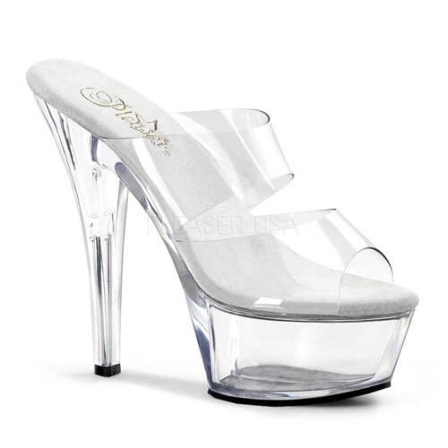 Ladies Band Stiletto Shoes Clear Slide Kiss Pleaser 202 Dance Platform Pole Heel n7xwTgEq1