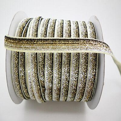 "NEW DIY 5 Yards 3/8""10mm Sparkle Glitter Velvet Ribbon Headband Clips Bow Colors"