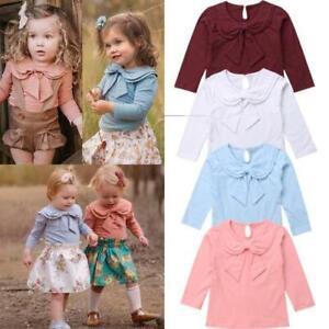Toddler-Kids-Baby-Girl-Bowknot-Peter-Pan-Collar-Cotton-T-shirt-Long-Sleeve-Solid
