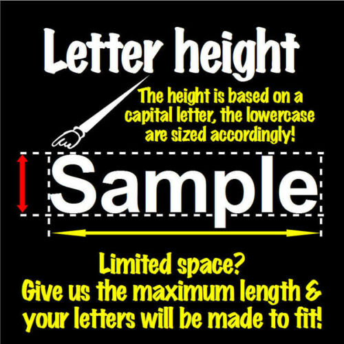 6 Characters 2.25 inch 57mm high pre-spaced stick on vinyl letters /& numbers