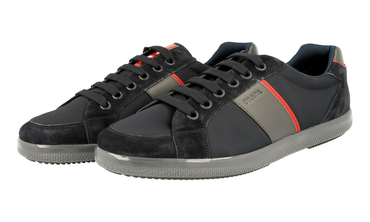 LUXUS PRADA SNEAKER SCHUHE 4E3043 blue red NEU NEW 8 42 42,5