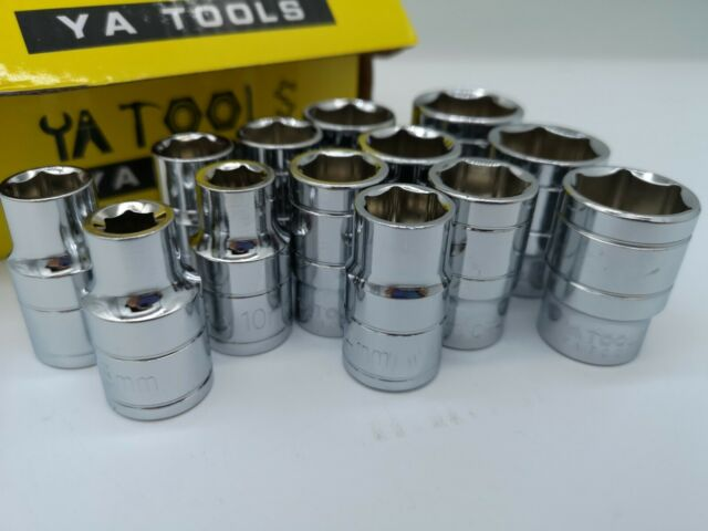 """6 Point Nut Standard Socket for Wrench 1/2"""" Drive 8~24 mm Metric MM"""