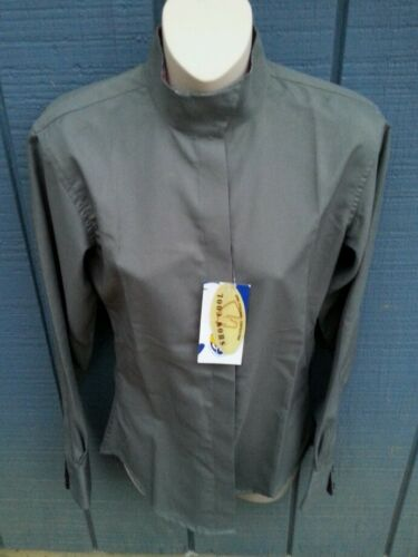 NWT ROYAL HIGHNESS SZ 30 Long Sleeve Gray Coolmax Wrap Collar Horse Show Shirt