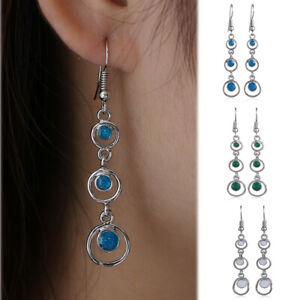 Women-Elegant-Gift-Long-Drop-Dangle-Fashion-Jewelry-Opal-Earrings-Hook-Ear-Stud