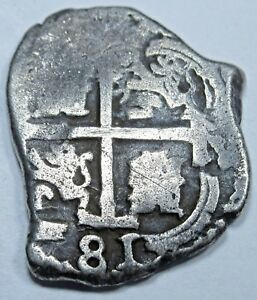 1681-VF-Potosi-Spanish-Silver-1-Reales-Piece-of-8-Real-Colonial-Pirate-Cob-Coin